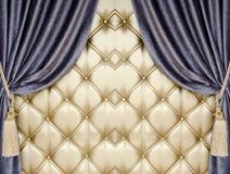 Golden upholstery velvet curtain background Stock Images