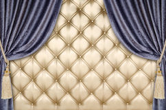 Golden upholstery velvet curtain background Royalty Free Stock Images