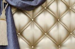 Golden upholstery velvet curtain background Stock Photos