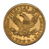 Golden US 10 dollar Royalty Free Stock Photos