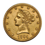 Golden US 10 dollar. US 10 dollar - front Eagle gold coin 1894 Royalty Free Stock Photos