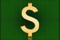Golden US Digital Dollar Symbol - Digital Currency Royalty Free Stock Image