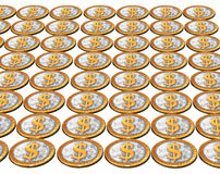 Golden usa dollar coins on the white Royalty Free Stock Photo