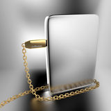 Golden USB chain around silver software box. 3D illustration of golden USB chain around silver software box Royalty Free Stock Photo