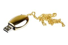 Golden USB memory stick Royalty Free Stock Photos