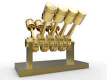 Golden V8 engine pistons. 3D rendered illustration of golden V8 engine pistons. The composition is  on a white background with shadows Royalty Free Stock Images