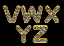 Golden V-Y letters incrusted with diamonds Stock Photo