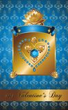 Golden Valentine background with diamond heart. Stock Photography