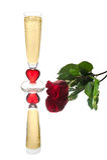 Golden Valentine Flute Royalty Free Stock Photography