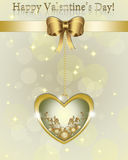 Golden Valentine Gift card. Stock Image