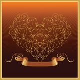 Golden_valentine_heart_with_ribbon Royalty Free Stock Image