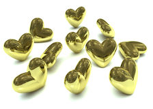 Golden valentine hearts Stock Photo