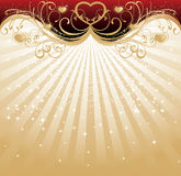 Golden Valentine's Day background. With heart-shapes vector illustration