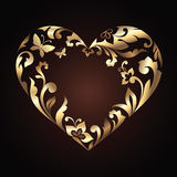 Golden Valentine's Day heart with floral ornament Stock Image