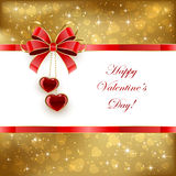 Golden Valentines background with hearts and bow Royalty Free Stock Image