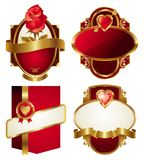 Golden valentines frames Royalty Free Stock Photo