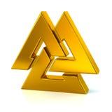 Golden Valknut symbol. 3d illustration of golden Valknut symbol on white background stock illustration