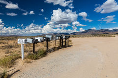 GOLDEN VALLEY, ARIZONA - SEPTEMBER 6: Views of mail boxes along. The highway 93 on September 6, 2015. Mail boxes are popular photographic motives by tourist Stock Image