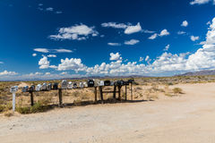 GOLDEN VALLEY, ARIZONA. SEPTEMBER 6: Views of mail boxes along the highway 93 on September 6, 2015. Mail boxes are popular photographic motives by tourist Stock Photo