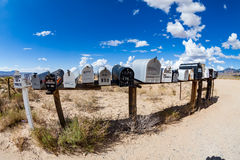 GOLDEN VALLEY, ARIZONA. SEPTEMBER 6: Views of mail boxes along the highway 93 on September 6, 2015. Mail boxes are popular photographic motives by tourist Stock Image