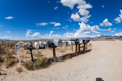 GOLDEN VALLEY, ARIZONA. SEPTEMBER 6: Views of mail boxes along the highway 93 on September 6, 2015. Mail boxes are popular photographic motives by tourist Royalty Free Stock Image