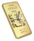 Golden vault. 3D concept with gold bar and vault door Royalty Free Stock Photo