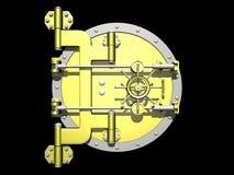 Golden vault door closed. Stock Photo