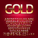 Golden vector alphabet letters, symbols, numbers Royalty Free Stock Image