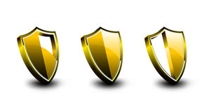 Golden Vector Armor Shield Stock Photo