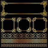 Golden vector asian, korean, chinese, japanese retro frames. Illuustration of golden decor Royalty Free Stock Image