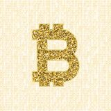 Golden vector Bitcoin symbol. Crypto currency digital illustration on a binary background. Virtual cash, web money Stock Photography