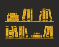 Golden vector books on the shelf on black background Royalty Free Stock Photography
