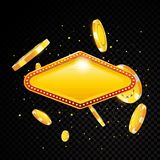 Golden vector casino vegas sign with poker chips explosion Stock Photography
