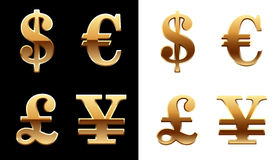 Golden vector dollar, euro, pound sterling, yen si Royalty Free Stock Photos
