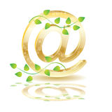 Golden vector e-mail icon and plant Stock Photos