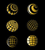 Golden Vector of Earth Set Stock Image