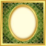 Golden vector frame with bright pattern Stock Photo