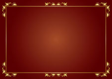 Golden vector frame on brown background Royalty Free Stock Image