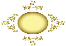 Golden vector frame with golden tracery Stock Photography