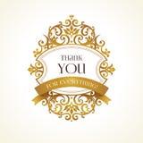 Golden vector frame for thank you message.