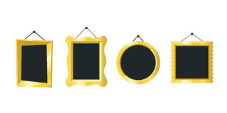 Golden vector frames. Golden frames hanging on the wall. Vector simple illustration of different picture frames Stock Image