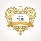 Golden vector heart in Victorian style. Royalty Free Stock Images