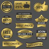 Golden vector labels Stock Photos