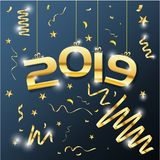 Golden Vector luxury text 2019 Happy new year vector design illustrations royalty free stock photos