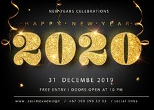 Golden Vector luxury text 2020 Happy new year. Gold Festive Numbers Design, diamonds texture. Gold shining glitter