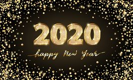 Golden Vector luxury text 2020 Happy new year. Gold Festive Numbers Design. Gold glitter confetti. Banner 2020 Digits. Golden Vector luxury text 2020 Happy new royalty free illustration