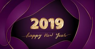 Golden Vector luxury text 2019 Happy new year on purple fluid background. Golden Vector luxury text 2019 Happy new year. Gold Festive Numbers Design with royalty free illustration