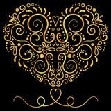 Golden  Vector ornamental floral ornament on the black background. Elegance shape of heart Royalty Free Stock Image