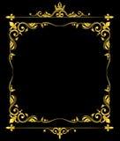 Golden vector ornate royal fleur de lys frame black background Stock Image