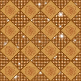 Golden vector seamless chess styled vintage texture with clove flowers and shining rounds Stock Photo